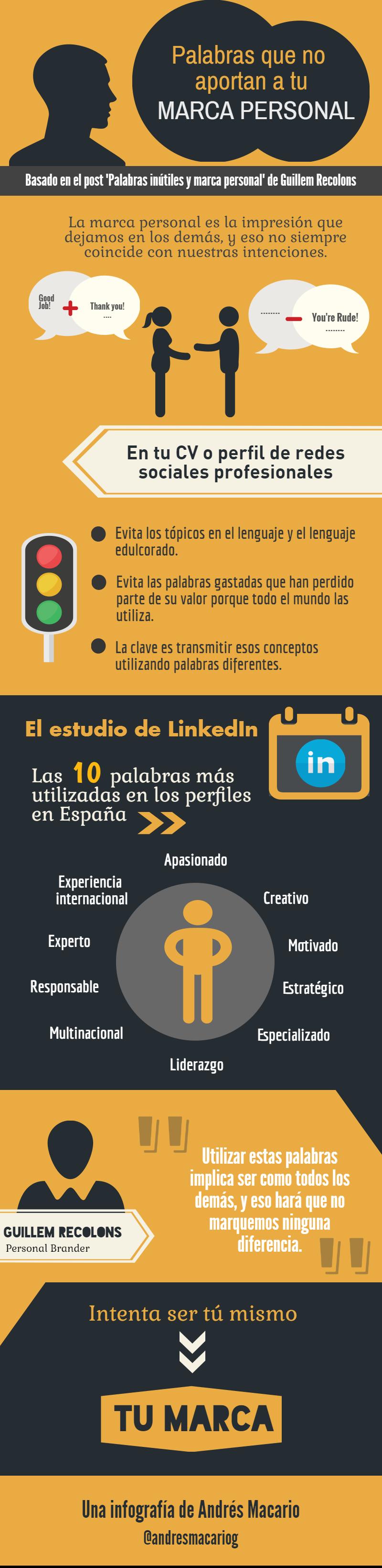 palabras que no aportan. Infografía by Andrés Macario basada en un texto de Guillem Recolons