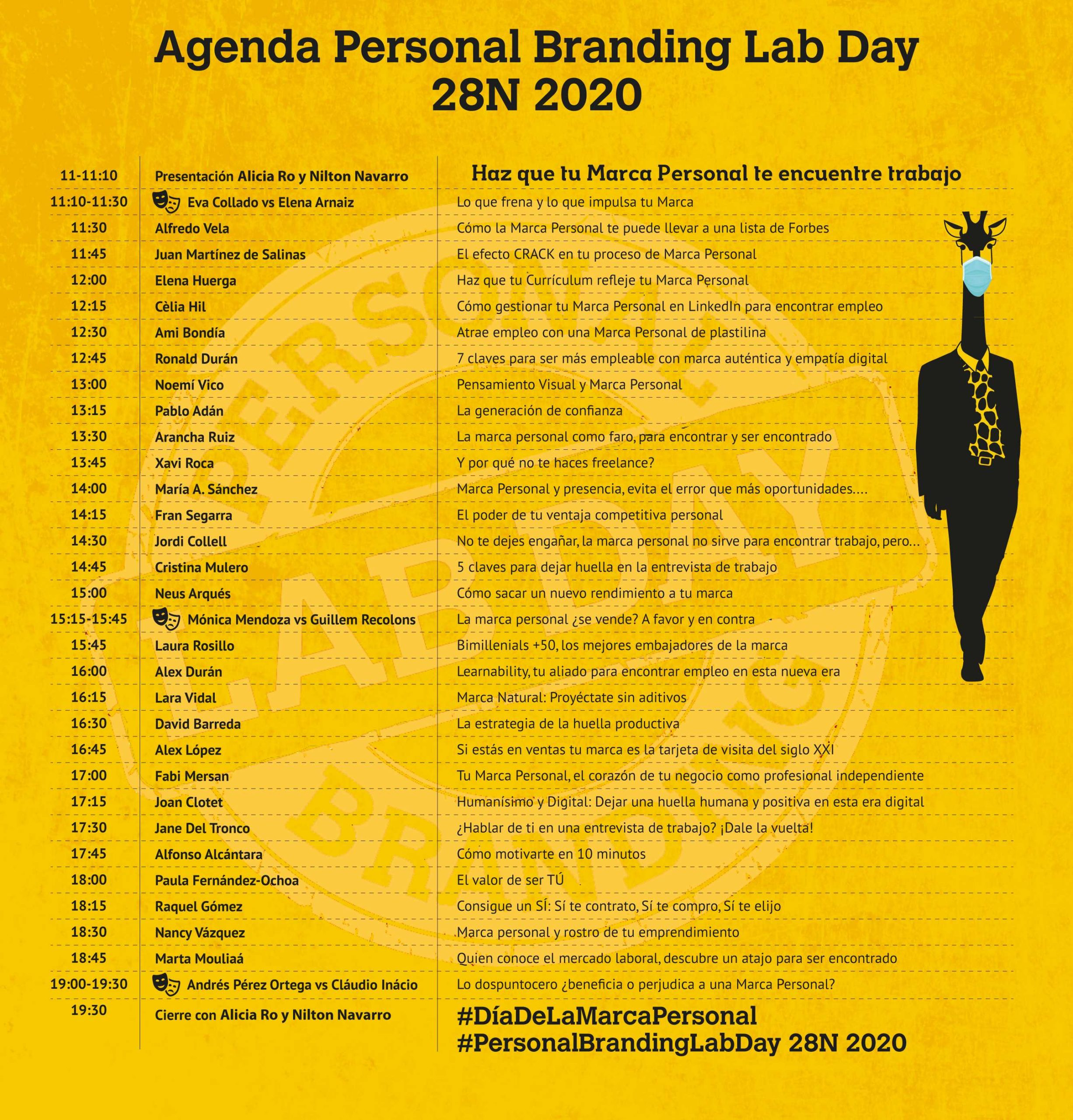 Agenda 28N Personal Branding lab Day 2020